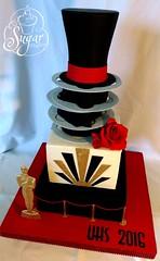 Old Hollywood prom cake (RebeccaSutterby) Tags: red roses black cake glitter gold oscar prom tophat artdeco bling edible gumpaste filmreels oldhollywood velvetropes