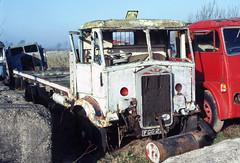 Albion Lorry FGG234 in Doune Motors yard. Mar'83. (David Christie 14) Tags: lorry scrapyard albion doune