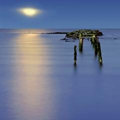 OLD JETTY AND OLDER MOON (kenny barker) Tags: longexposure sea moon nature night dark landscape lumix scotland fife jetty culross firthofforth coastuk saariysqualitypictures panasonicg1