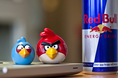 Red Bull gives you wings ;) (Issa Fakhro) Tags: macro apple colors work canon macintosh toys office skne mac europe sweden bokeh laptop scandinavia malm energydrink redbull taurine angrybirds taurin followmeontwitterissafakhro