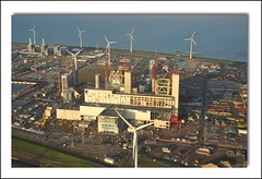 Big Boys Playground in late afternoon light (powerfocusfotografie) Tags: netherlands waddenzee high scenery energy view noordzee aerial northsea powerplant groningen henk waddensea rwe eemshaven nuon nikond90 powerfocusfotografie