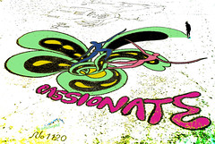 The Sand Artist Begins to Paint (Steve Taylor (Photography)) Tags: sea newzealand christchurch man color colour art beach landscape graffiti pier sand artist patterns curves dancer canterbury nz southisland forms stick 1120 newbrighton passionate peterdonnelly