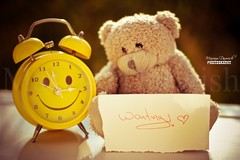 Waiting! (Mariam Darwish) Tags: bear colour love clock beautiful beauty smile yellow canon word waiting heart teddy time watch adorable laugh colored written simple emotions optimism coloured darwish adore mariam loveyou 550d dpstime