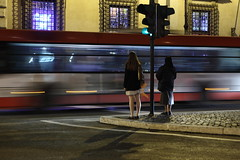 Flashback (Elios.k) Tags: old italy motion rome bus girl horizontal night outdoors trafficlight movement waiting traffic young pedestrian nun twopeople mixedages