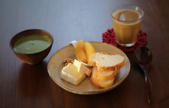 good morning, 111211 (hanabi.) Tags: food apple coffee cheese breakfast soup nuts spinach pottage