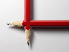 Pencil Duo (Sebastian.Schneider) Tags: red white detail closeup pencil pencils studio object details indoor whitebackground photomontage getty highkey tabletop bleistift nahaufnahme gettyimages kunstlicht objekt bleistifte artificallight