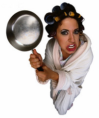 CB009989 (katoga) Tags: portrait people cutout 1 clothing holding women robe fulllength anger whitebackground whites studioshot stereotypes females bathrobe adults housewife fryingpan cookware kitchenware viewfromabove clippingpath homemaker haircurlers