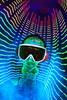 """...some kind of 1980s graphic equalizer"" (quornflake) Tags: longexposure blue music lightpainting night weird fisheye lighttrails trippy digitallightwand"