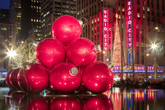 Happy Holidays from NYC: Ornaments outside the Exxon Building on 50th Street (RBudhu) Tags: christmas newyorkcity ornaments gothamist happyholidays radiocitymusichall 50thstreet exxonbuilding