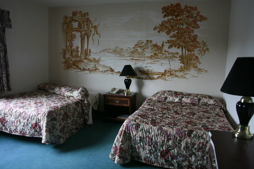 Epic scenery on wallpaper in main building guest room