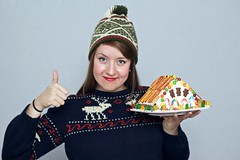 Meagan and her Gingerbread House (jasonhawkins) Tags: holiday portraits studio whitebackground uglysweaters meaganfisher christmas2011