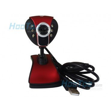 Y19 Rose Red USB 2.0 Webcam 6 LED 12.0M pixel with Mic for PC