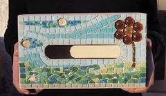 Porta - fazzoletti (Sara Di Gregorio) Tags: blue glass mosaic mosaico tiles marrone celeste sfere acquamarina tessere vitree