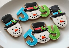JOY (SweetSugarBelle) Tags: christmas snowman cookie royalicing