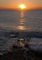 Jurassic Coast, Swanage 3 (Rev Napalm) Tags: shadow red sea sun water sunrise gold coast swanage jurassic blinkagain