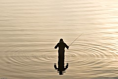 3013. The Angler (Di's Eyes) Tags: reflection water silhouette fisherman circles week1 rod ripples 88 something angler odt a 52weeks2012 beginningwitha 112pictures