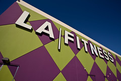 LA Fitness Storefront (Mabry Campbell) Tags: blue sky usa color green sports muscles sport photography pattern texas purple unitedstates muscle unitedstatesofamerica january houston bluesky health storefront workout campbell canonef1740mmf4lusm 2012 mabry lafitness firness harriscounty greentriangles greentriangle purpletriangle purpletriangles businessstorefront mabrycampbell