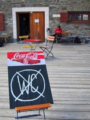drink but don't go (Riex) Tags: schweiz switzerland humorous suisse drink deck wc cocacola svizzera whimsical rigolo engadine drole grisons graubunden fuorcla surlej s95 canonpowershots95
