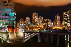 Vancouver City Night View on False Creek (TOTORORO.RORO) Tags: bridge canada color reflection night vancouver 35mm lens thevillage bc sam sony falsecreek alpha f18 hdr nex greatervancouver mirrorless nex5 sal35f18