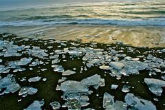 Ice on the beach of Iceland (skolavellir12) Tags: ocean sea ice island coast iceland sand atlantic sland haf islanda s