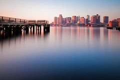 Hazy Morning Boston (chris lazzery) Tags: longexposure boston sunrise cityscape eastboston bostonharbor canonef24105mmf4l 5dmarkii bw30nd