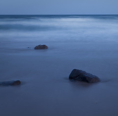 sky, sea, sand and stones ({JO}) Tags: ocean longexposure sea sky beach twilight sand waves coastal qld sunshinecoast coolum pointarkwright