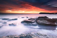 Fire in the Sky (-yury-) Tags: ocean sky seascape beach nature sunrise landscape fire rocks sydney australia nsw collaroy thepowerofnow
