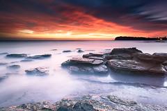 Fire in the Sky (-yury-) Tags: ocean sky seascape beach nature sunrise landscape fire rocks sydney australia nsw collaroy thepowerofnow