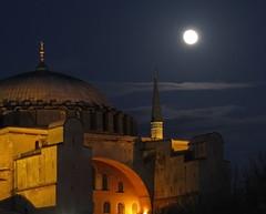 Aya Sofia (Nita J Y) Tags: moon building architecture night clouds canon turkey istanbul dome historical ottoman byzantine sx100