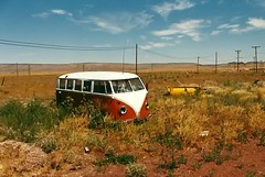 Abandoned VW Bus (C McSheridan) Tags: arizona bus abandoned film vintage landscape route66 automobile desert transportation volkswagon yavapaicounty