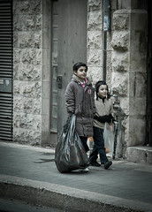 Siblings (Daria Angeli) Tags: street winter urban kids israel december faces candid jerusalem expressions streetphotography siblings 2011 beautifulphoto flickraward flickrestrellas spiritofphotography lovely~lovelyphoto