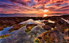 Sunset Rock Pools (StevieC-Photography) Tags: uk sunset sea cloud sun reflection nature rock horizontal outdoors photography scotland moss published nopeople dramaticsky isleofarran scenics ayrshire tranquilscene portencross beautyinnature colourimage kilmarnockstandard steviec irvineherald