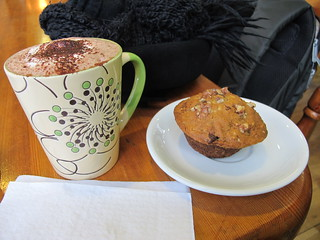 Hot choc & banana / choc chip muffin