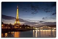 Early Evening on the banks of the Seine ..... (pete stone) Tags: bridge paris france water seine river nightimages dusk eiffeltower canoneos5d