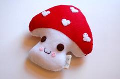 Mushy mushy Mushroom (Vivikas) Tags: original red party white cute fun toy design stuffed handmade nursery felt plush softie kawaii etsy favor eco vivikas