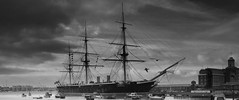 HMS Warrior (GarethThomasJones) Tags: camera uk white black photoshop canon photography landscapes photographer ixus beaches pro pointandshoot gtj compact lightroom garethjones 100is sd780 canonsd780 lightroom4 garethjonesphotographyportsmouth garethjonesportsmouth gareththomasjones