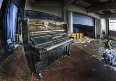 The junkie's piano (odin's_raven) Tags: school urban abandoned college hall stage exploring explorer raven hdr ue paino urbex odins talkurbex odinsraven