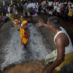 Suffering Woman Holding A Jar On Fire In Her Hands Succeeding Fire Walking Ritual, Madurai, South India