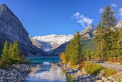 Lovely Lake Louise (Philip Kuntz) Tags: morning alberta banff lakelouise mtvictoria victoriaglacier stoneyindian glacialwaters lakeofthelittlefishes lakelouiseoutlet
