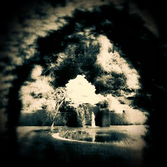 (Matt Brock ) Tags: trees monochrome statue gardens sepia dark pond moody devon squareformat ghostly nationaltrust atmospheric formalgarden tiverton knightshayes mobilephotography iphoneography