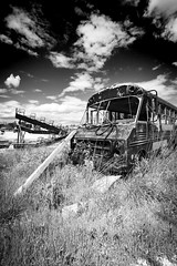 Abandoned Shuttle Monochrome (Notley) Tags: sky blackandwhite bus abandoned monochrome clouds landscape midwest outdoor may missouri 2016 shuttlebus 10thavenue notley ruralphotography ruralusa overtonmissouri notleyhawkins coopercountymissouri missouriphotography httpwwwnotleyhawkinscom notleyhawkinsphotography
