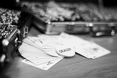 Poker (Bomboclack) Tags: life light blackandwhite bw france blancoynegro monochrome french cards photography 50mm photo nikon europe dof play noiretblanc bokeh lumire picture tapis pic nb chips fullframe nikkor f18 18 fx ff franais vie dealer allin madeinfrance cartes jouer d600 pions pleinformat
