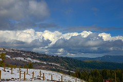Clouds over the Cascades (Herculeus.) Tags: trees sky usa cloud mountain snow oregon landscape outside outdoors outdoor or hill may mountainside 2016 5photosaday mthoodandtimberlinelodge