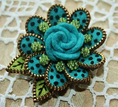 Beautiful turquoise felt (woolly  fabulous) Tags: roses flower wool pin embroidery felt zipper beaded brooches