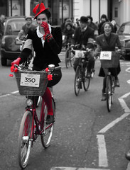 Lady in Red (The Rugby Ralph Lauren Tweed Run - London 2011) (Paul @ Doverpast.co.uk) Tags: rugby ralph lauren tweed run london 2011 covent garden red selective colour bw splash color bike bicycle vintage lady woman uk england cycle cycling