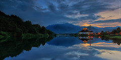 Panoramic of Darul Quran (Fakrul J) Tags: shadow panorama lake mountains reflection sunrise mosque serenity hdr canonefs1022mmf3545usm canoneos500d darulquran huffazlake fakruljamil hitech9sndgrad wwwfakruljamilcom