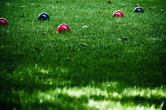 Bocce (lynn.h.armstrong) Tags: camera red summer sun sunlight ontario canada black game green art grass leaves lens geotagged photography photo interesting mac aperture nikon long flickr afternoon play zoom bokeh south lawn balls images lynn h round getty nikkor armstrong bocce stormont vr licence afs request dx sault attribution ingleside 2011 ifed 18200mm f3556 noderivs vrii d7000 lynnharmstrong