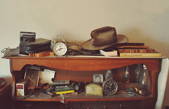 (yyellowbird) Tags: camera old house abandoned hat illinois things shelf memory clocks