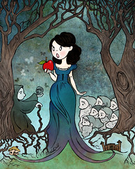 Snow White (littlecynicism) Tags: blue red fairytale princess gray snowwhite stepmother 7dwarves wickedqueen poisonapple classicstory eeryforest