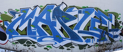 MAPLE (Reckless Artist) Tags: road panorama white west brick art st wall train paul photography graffiti maple midwest paint stitch champs cities minneapolis twin rail panoramic spray mpls photographs photograph production graff burner mn minn mid inc burners tci stp burna illest